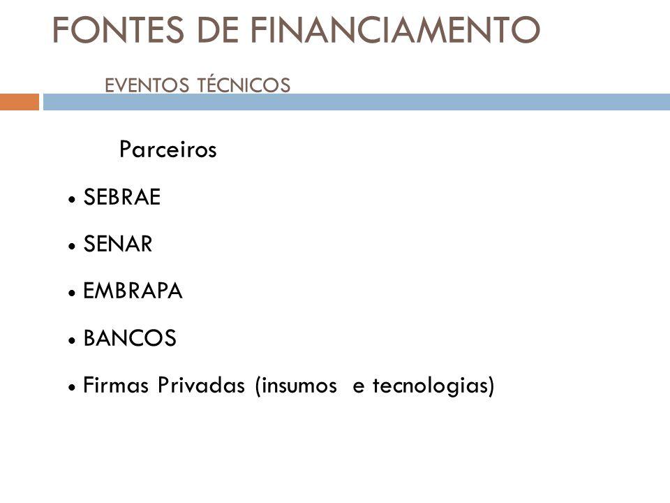 FONTES DE FINANCIAMENTO EVENTOS TÉCNICOS21 Parceiros SEBRAE SENAR EMBRAPA BANCOS Firmas Privadas (insumos e tecnologias)