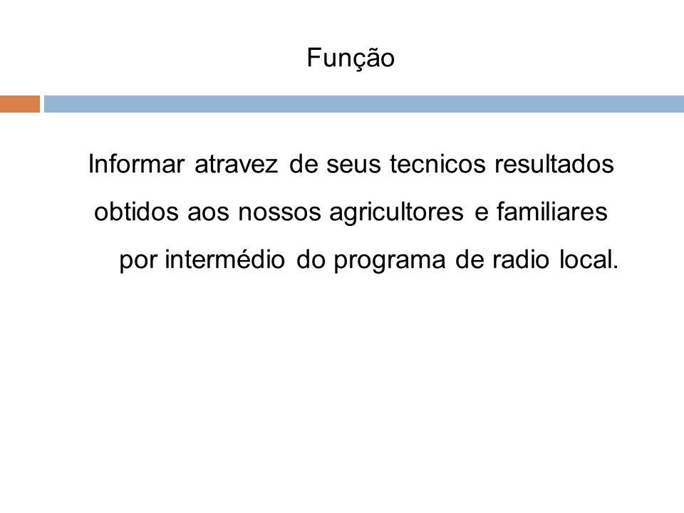 Função Informar atravez de seus tecnicos resultados obtidos aos nossos agricultores e familiares por intermédio do programa de radio local.