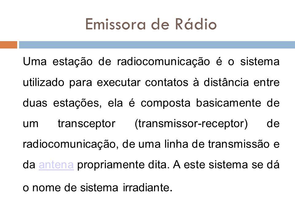 Emissora de Rádio Uma estação de radiocomunicação é o sistema utilizado para executar contatos à distância entre duas estações, ela é composta basicam