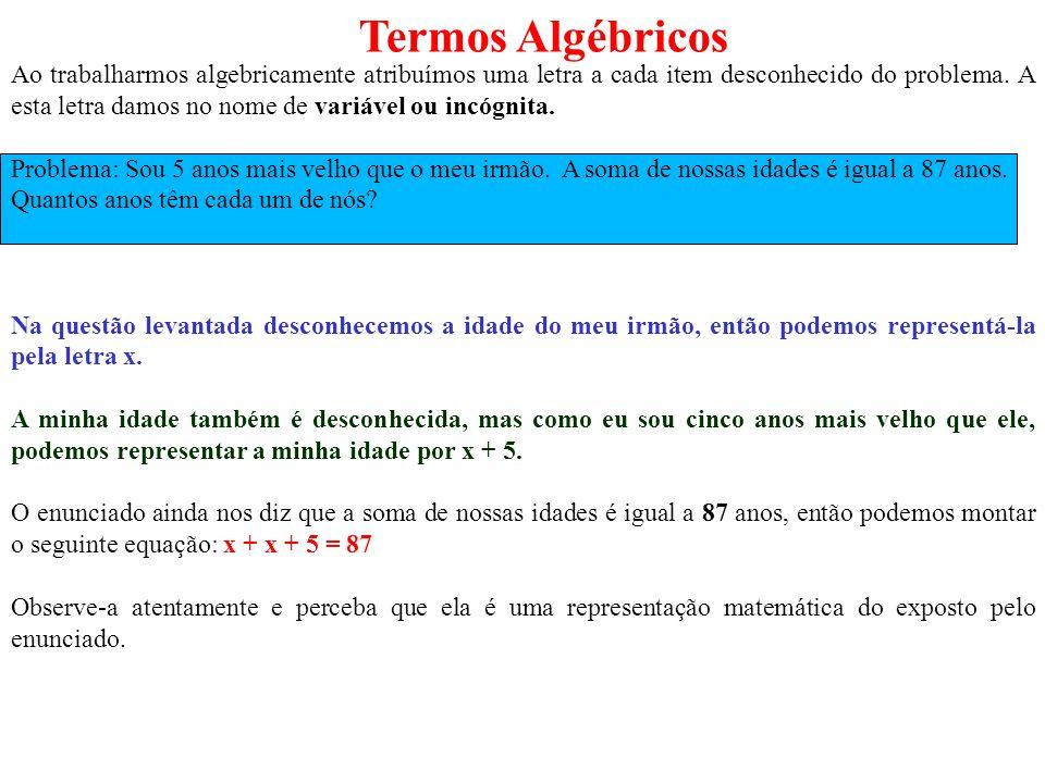 Termos Algébricos Ao trabalharmos algebricamente atribuímos uma letra a cada item desconhecido do problema. A esta letra damos no nome de variável ou