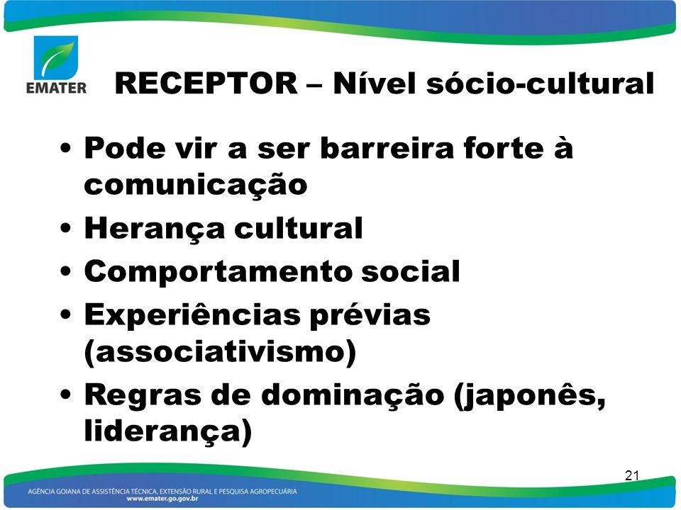 20 RECEPTOR - Atitude Condicionam a eficiência da comunicação, por fatores independentes do assunto Negativa De prevenção