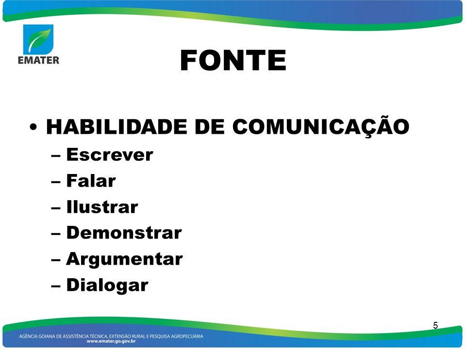 4 FONTE Indivíduo, grupo ou organização responsável pela comunicação Na EMATER os técnicos também são responsáveis pela comunicação e de suas conseqüê