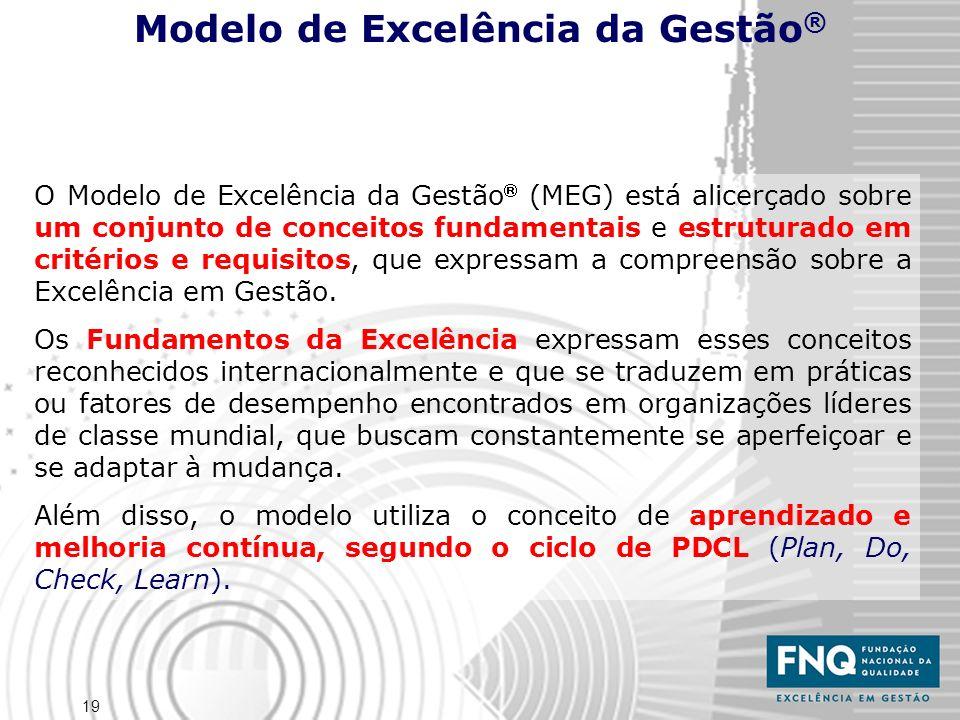 19 O Modelo de Excelência da Gestão (MEG) está alicerçado sobre um conjunto de conceitos fundamentais e estruturado em critérios e requisitos, que exp