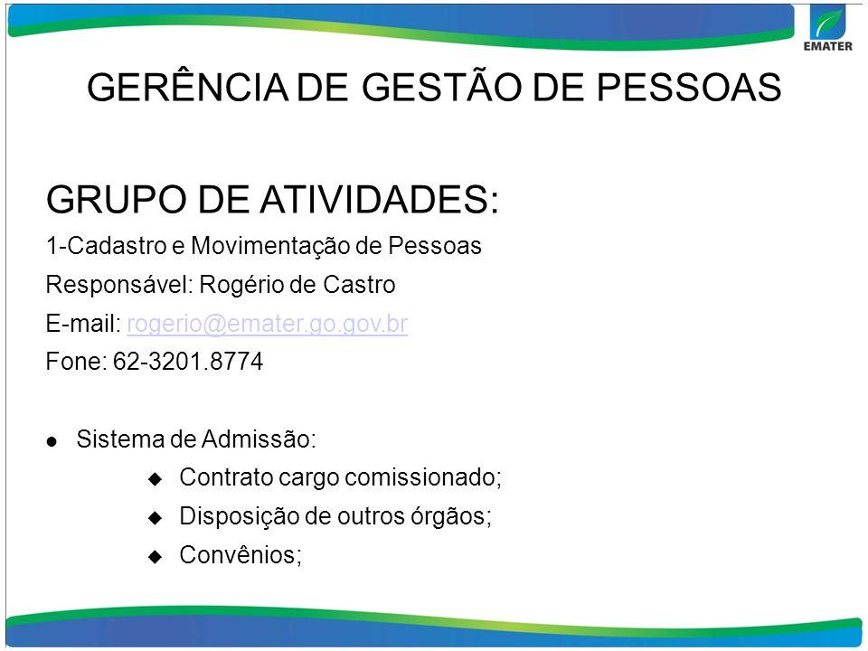 GERÊNCIA DE GESTÃO DE PESSOAS GRUPO DE ATIVIDADES: 1-Cadastro e Movimentação de Pessoas Responsável: Rogério de Castro E-mail: rogerio@emater.go.gov.b