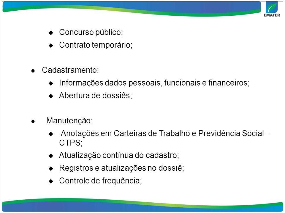 Concurso público; Contrato temporário; Cadastramento: Informações dados pessoais, funcionais e financeiros; Abertura de dossiês; Manutenção: Anotações
