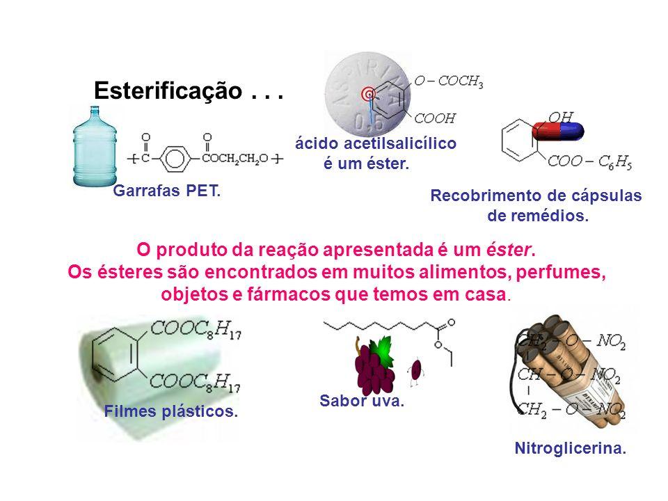 O produto da reação apresentada é um éster. Os ésteres são encontrados em muitos alimentos, perfumes, objetos e fármacos que temos em casa. O ácido ac