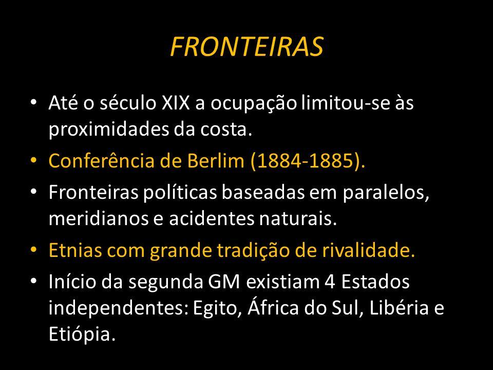 FRONTEIRAS Até o século XIX a ocupação limitou-se às proximidades da costa.
