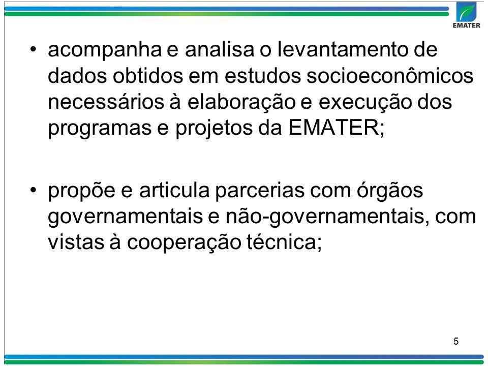 acompanha e analisa o levantamento de dados obtidos em estudos socioeconômicos necessários à elaboração e execução dos programas e projetos da EMATER;