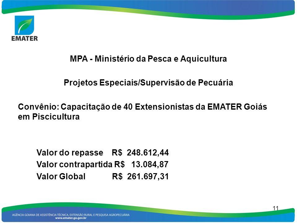 MPA - Ministério da Pesca e Aquicultura Projetos Especiais/Supervisão de Pecuária Convênio: Capacitação de 40 Extensionistas da EMATER Goiás em Piscic