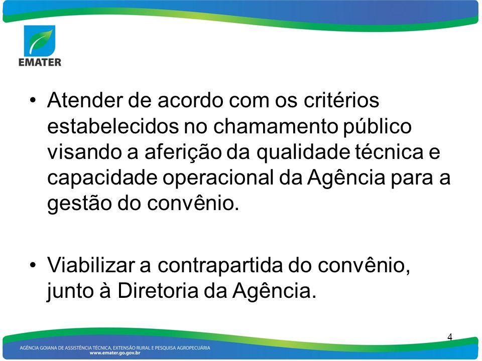 Atender de acordo com os critérios estabelecidos no chamamento público visando a aferição da qualidade técnica e capacidade operacional da Agência par