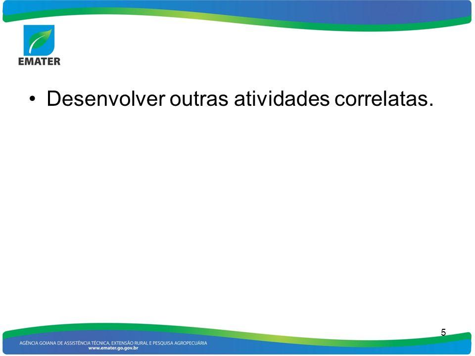 Desenvolver outras atividades correlatas. 5