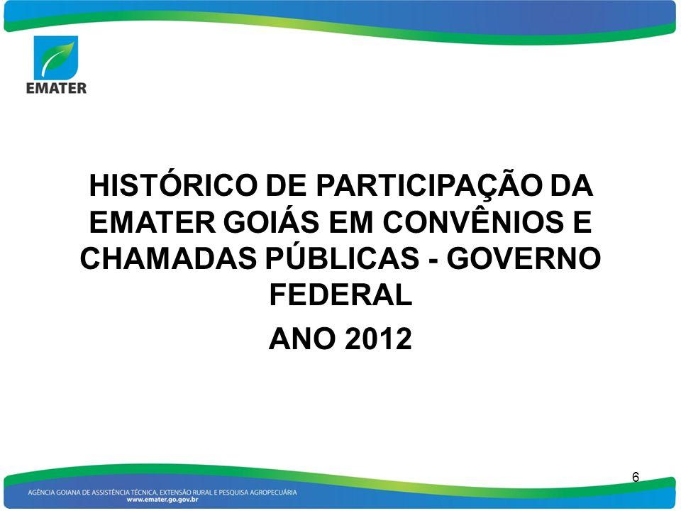HISTÓRICO DE PARTICIPAÇÃO DA EMATER GOIÁS EM CONVÊNIOS E CHAMADAS PÚBLICAS - GOVERNO FEDERAL ANO 2012 6