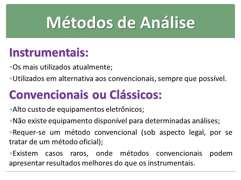 Métodos de Análise Instrumentais: Os mais utilizados atualmente; Utilizados em alternativa aos convencionais, sempre que possível. Convencionais ou Cl