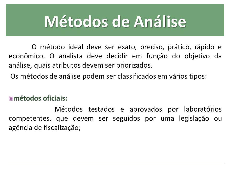 Métodos de Análise O método ideal deve ser exato, preciso, prático, rápido e econômico. O analista deve decidir em função do objetivo da análise, quai