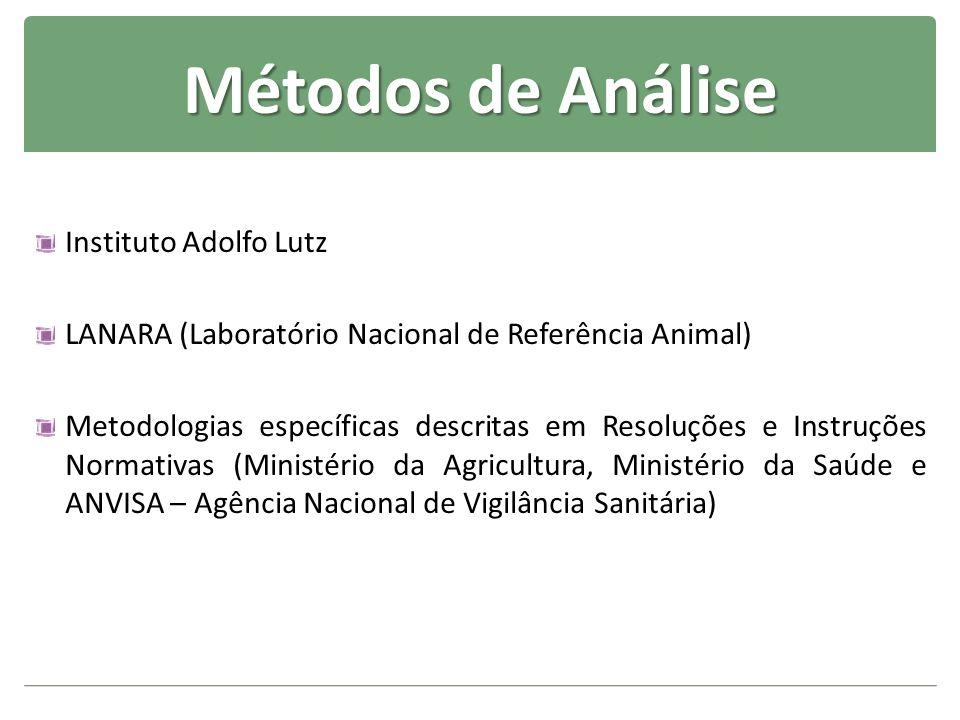 Métodos de Análise Instituto Adolfo Lutz LANARA (Laboratório Nacional de Referência Animal) Metodologias específicas descritas em Resoluções e Instruç