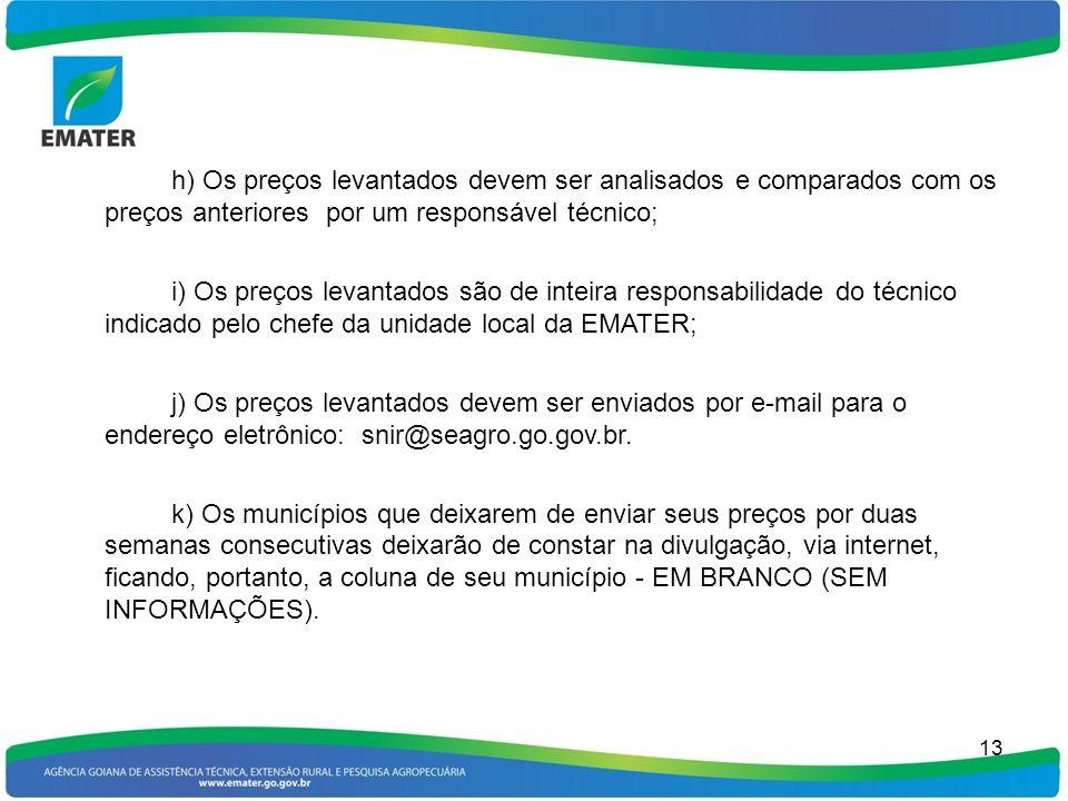 14 PREÇOS DE PRODUTOS AGRÍCOLAS PRODUTOSUNID.