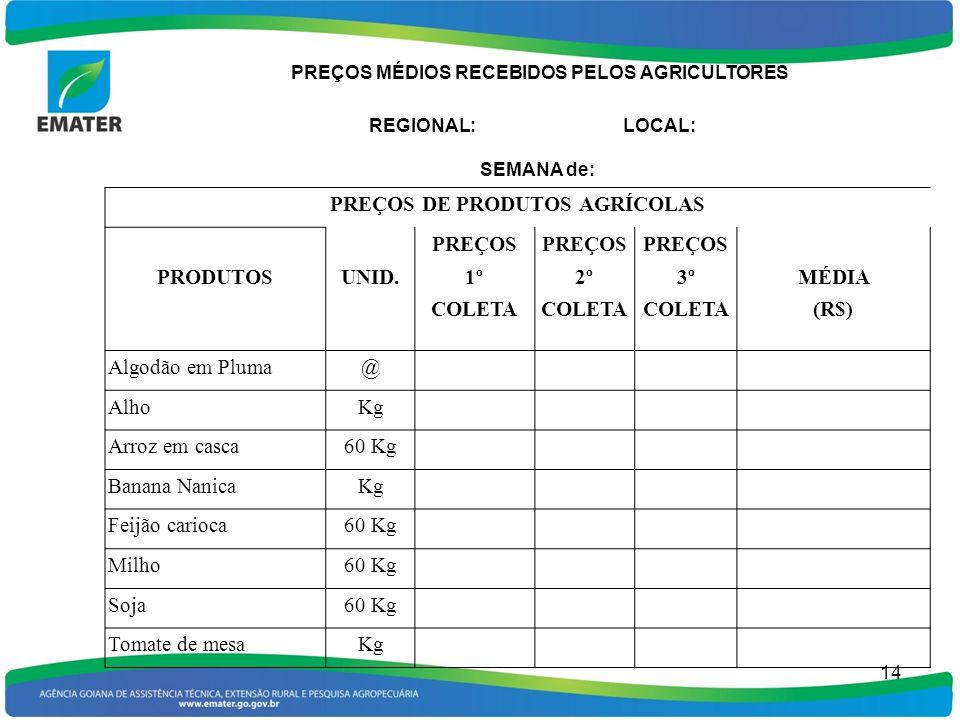 15 Responsável pela pesquisa: Obs: Os preços referem-se ao produto no local de comercialização e livres de ICMS.