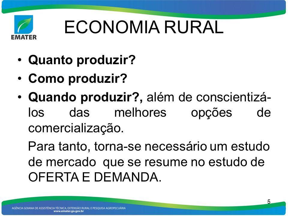 ECONOMIA RURAL Para se realizar um estudo de Oferta e Demanda, necessário se faz um acompanhamento permanente de preços e de produção agropecuária, em todos os níveis.