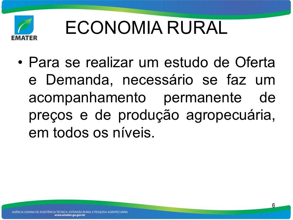 ECONOMIA RURAL 1 -ACOMPANHAMENTO SEMANAL DE PREÇOS Consiste no levantamento, tabulação e divulgação semanal de preços médios recebidos pelos produtores em dezessete municípios goianos, pólos de produção e/ou comercialização agropecuária.