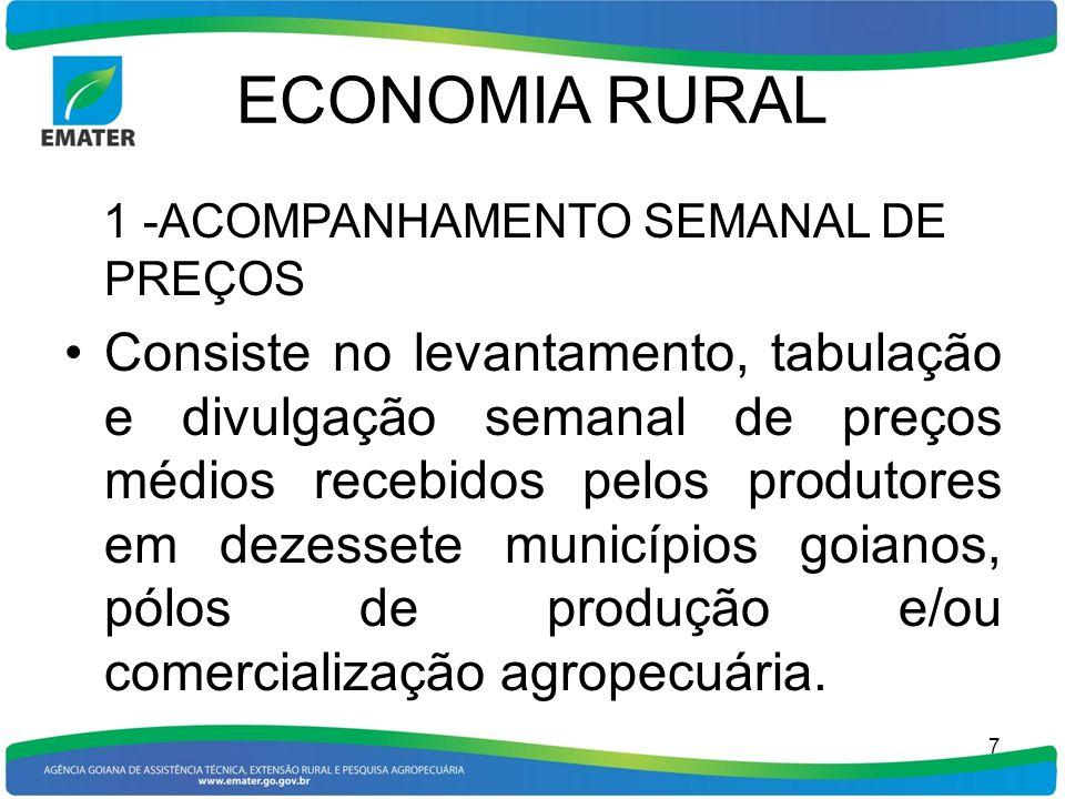 ECONOMIA RURAL 2-ACOMPAHAMENTO MENSAL DA PRODUÇÃO AGROPECUÁRIA Consiste no acompanhamento e disponibilidade mensal, em arquivos, de todos os produtos agrícolas cultivados em Goiás no que tange à área plantada (hectares), área colhida (hectares), produção (toneladas) e produtividade (quilos por hectare), inclusive fruteiras e oleráceas, bem como do efetivo pecuário, produção de carne e leite por município.