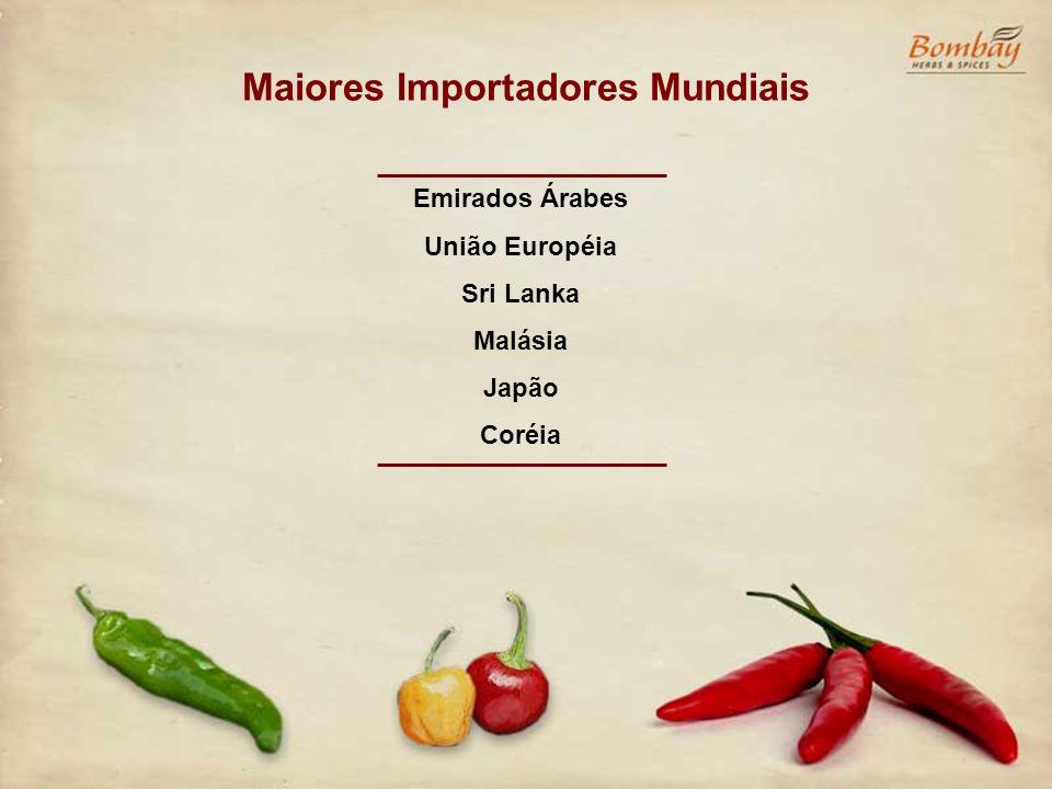 Exportações Brasileiras Pimentões e Pimentas Secas, Pó, etc 2006* US$ (000) Tons 8,9 3541 2005 23,1 8948 2004 17,2 8390 Pimentões e Pimentas Frescas ou Refrigeradas US$ (000) Tons 0,5 215 0,4 273 0,09 88 * até outubro de 2006