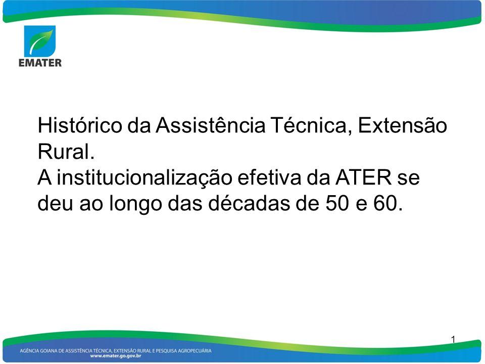 1 Histórico da Assistência Técnica, Extensão Rural. A institucionalização efetiva da ATER se deu ao longo das décadas de 50 e 60.