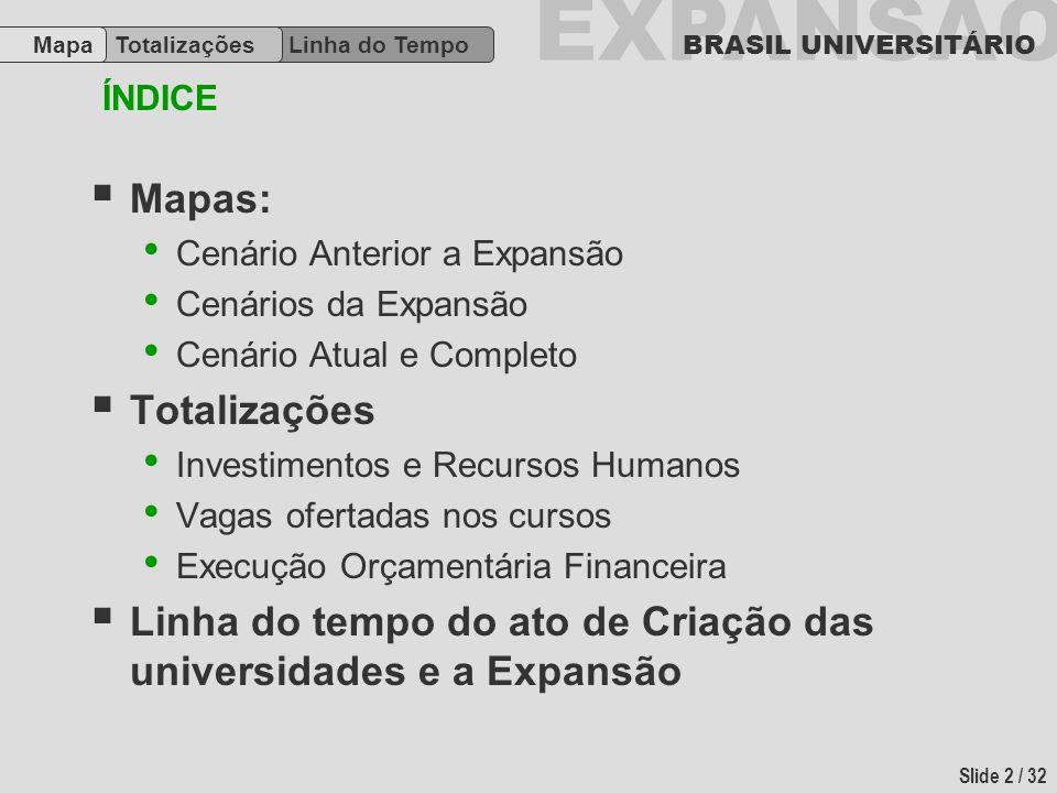 EXPANSÃO BRASIL UNIVERSITÁRIO Slide 2 / 32 Mapas: Cenário Anterior a Expansão Cenários da Expansão Cenário Atual e Completo Totalizações Investimentos