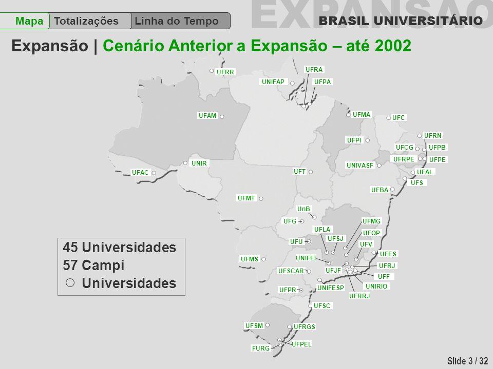 EXPANSÃO BRASIL UNIVERSITÁRIO Slide 4 / 32 Linha do Tempo TotalizaçõesMapa 4 Criadas 2 Consolidadas 6 Transformadas 12 Universidades Campi Uni.
