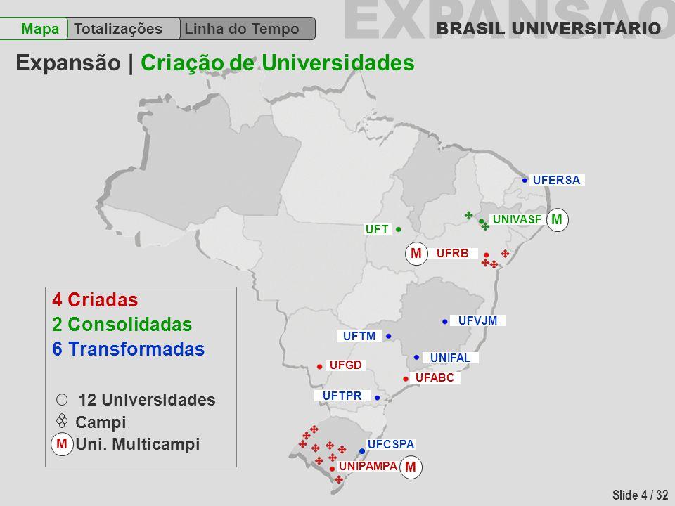 EXPANSÃO BRASIL UNIVERSITÁRIO Slide 4 / 32 Linha do Tempo TotalizaçõesMapa 4 Criadas 2 Consolidadas 6 Transformadas 12 Universidades Campi Uni. Multic