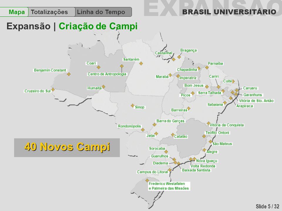 EXPANSÃO BRASIL UNIVERSITÁRIO Slide 6 / 32 Linha do Tempo TotalizaçõesMapa Expansão | Cenário atual 4 Criadas 2 Consolidadas 6 Transformadas 12 Universidades 40 Campi