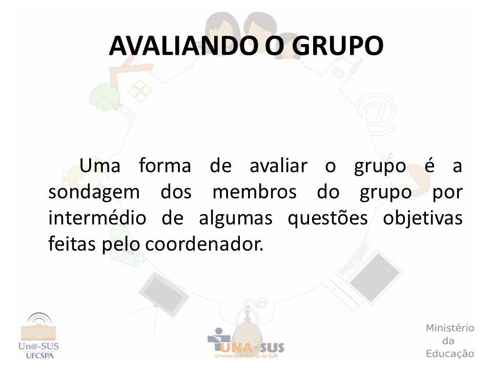 AVALIANDO O GRUPO Uma forma de avaliar o grupo é a sondagem dos membros do grupo por intermédio de algumas questões objetivas feitas pelo coordenador.