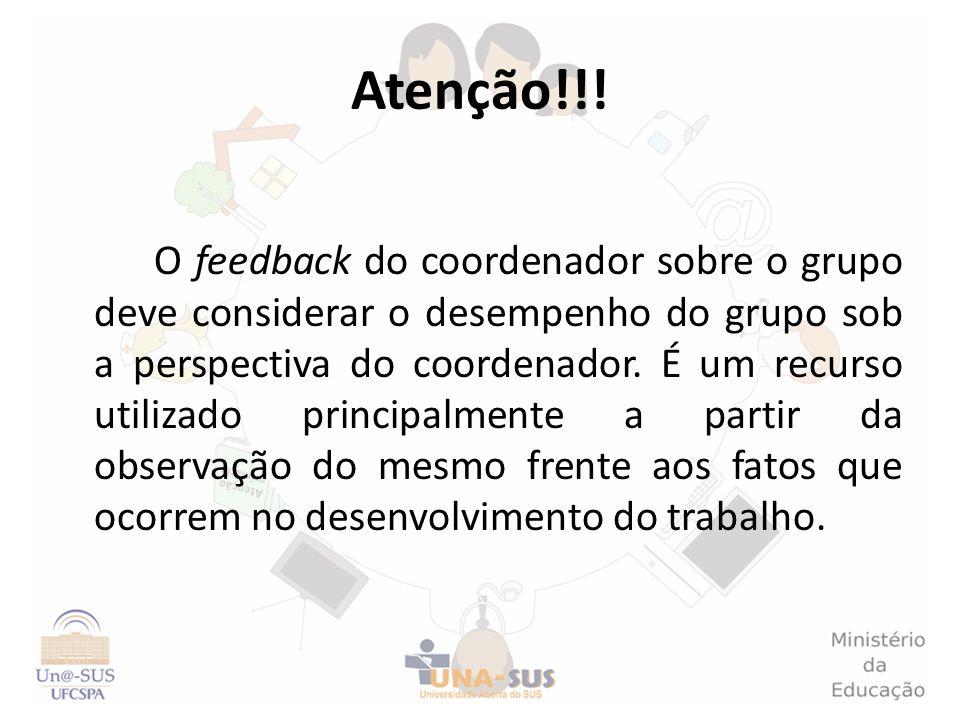 Atenção!!! O feedback do coordenador sobre o grupo deve considerar o desempenho do grupo sob a perspectiva do coordenador. É um recurso utilizado prin