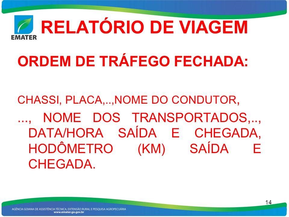 RELATÓRIO DE VIAGEM ORDEM DE TRÁFEGO FECHADA: CHASSI, PLACA,..,NOME DO CONDUTOR,..., NOME DOS TRANSPORTADOS,.., DATA/HORA SAÍDA E CHEGADA, HODÔMETRO (