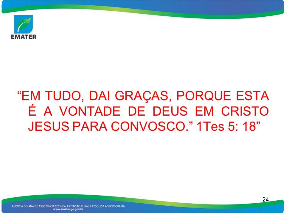 EM TUDO, DAI GRAÇAS, PORQUE ESTA É A VONTADE DE DEUS EM CRISTO JESUS PARA CONVOSCO. 1Tes 5: 18 24