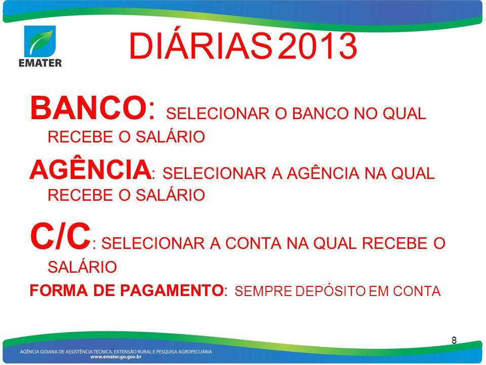 DIÁRIAS 2013 BANCO: SELECIONAR O BANCO NO QUAL RECEBE O SALÁRIO AGÊNCIA : SELECIONAR A AGÊNCIA NA QUAL RECEBE O SALÁRIO C/C : SELECIONAR A CONTA NA QU