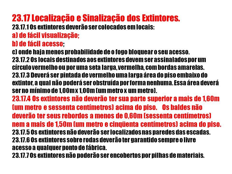 23.17 Localização e Sinalização dos Extintores. 23.17.1 Os extintores deverão ser colocados em locais: a) de fácil visualização; b) de fácil acesso; c