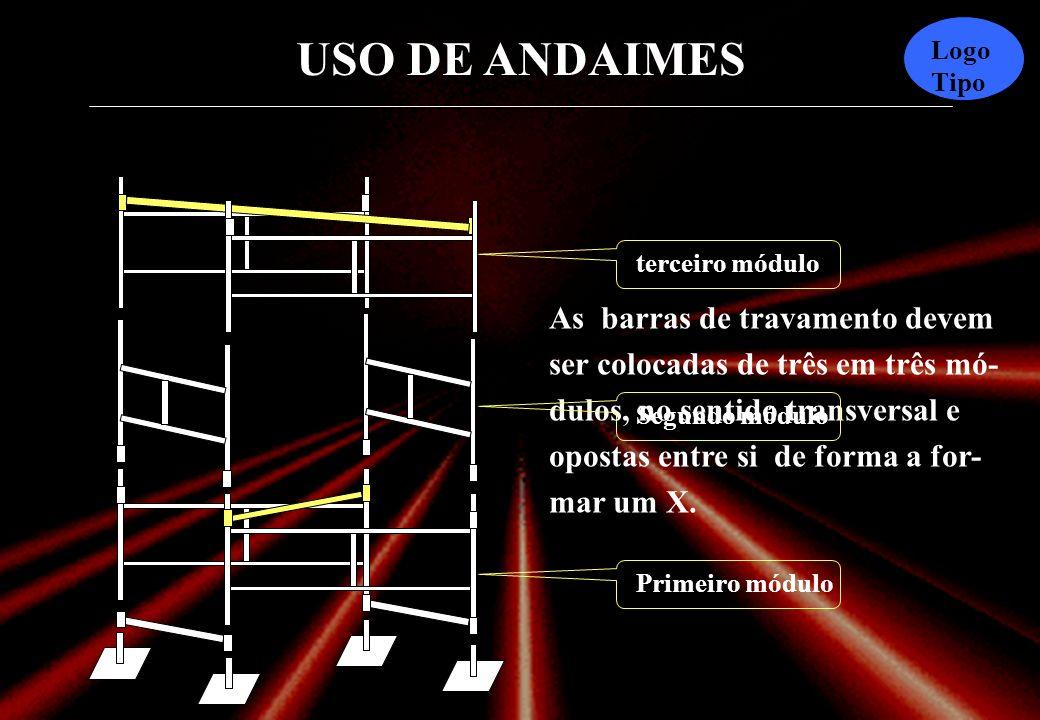 USO DE ANDAIMES Logo Tipo Montagem de um andaime Pés dos andaimes Barra de ligação das bases Barra de travamento transversal Segmentos laterais