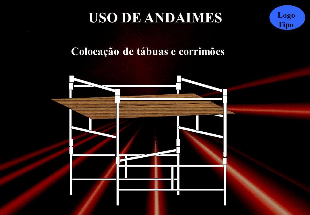 USO DE ANDAIMES Logo Tipo As barras de travamento devem ser colocadas de três em três mó- dulos, no sentido transversal e opostas entre si de forma a