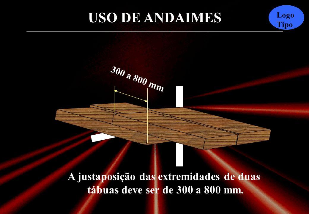 USO DE ANDAIMES Logo Tipo 30mm Ao usar duas ou mais tábuas o espaçamento entre elas deve ser de no máximo 30 mm.
