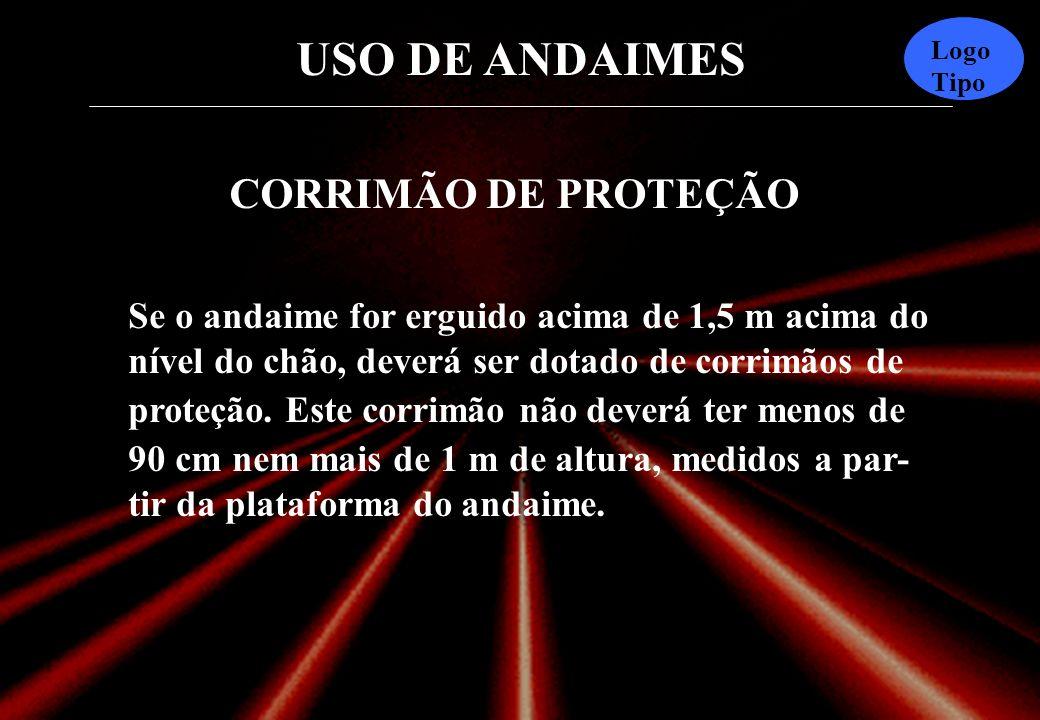 USO DE ANDAIMES Logo Tipo 200 a 600 mm As tábuas devem ultrapassar o suporte de 200 a 600 mm.