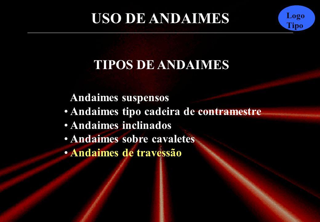 USO DE ANDAIMES Logo Tipo TIPOS DE ANDAIMES Andaimes suspensos Andaimes tipo cadeira de contramestre Andaimes inclinados Andaimes sobre cavaletes Andaimes de travessão