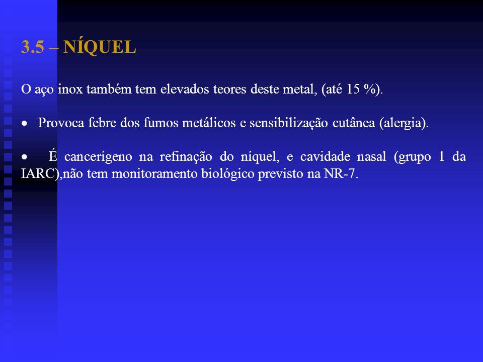 3.5 – NÍQUEL O aço inox também tem elevados teores deste metal, (até 15 %). Provoca febre dos fumos metálicos e sensibilização cutânea (alergia). É ca