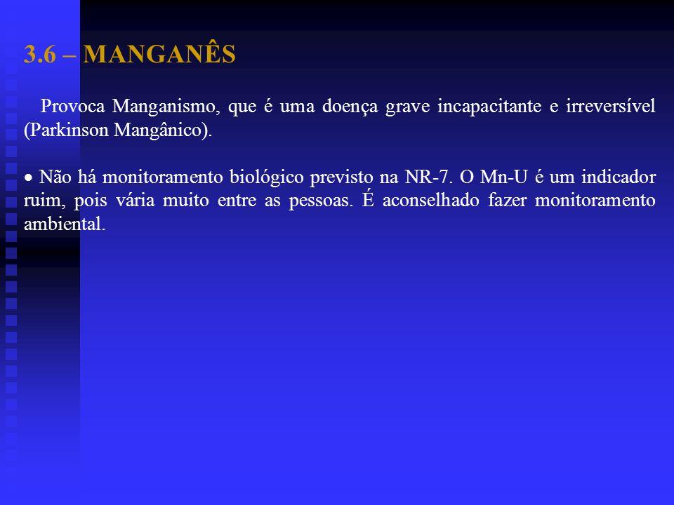3.6 – MANGANÊS Provoca Manganismo, que é uma doença grave incapacitante e irreversível (Parkinson Mangânico). Não há monitoramento biológico previsto