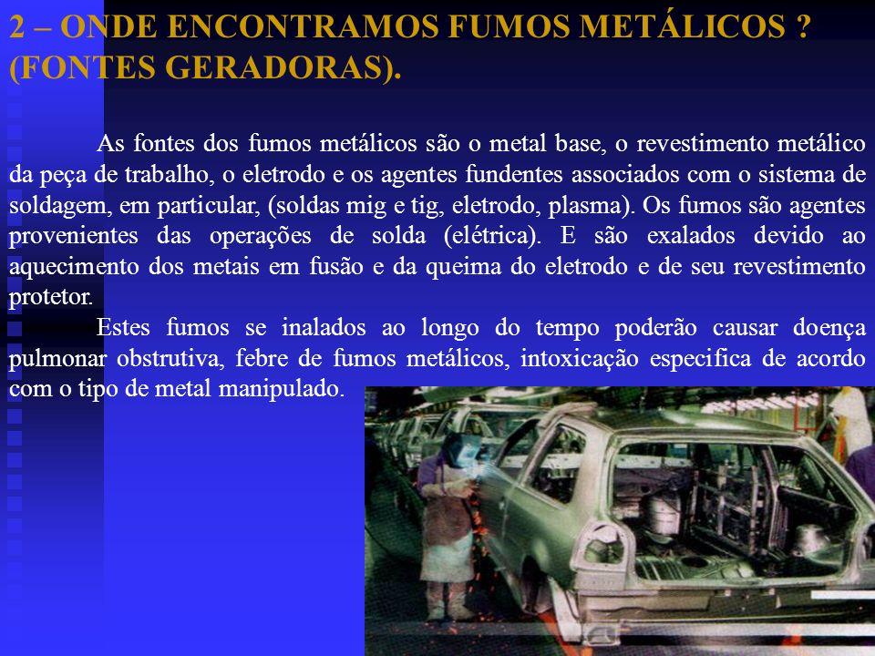 2 – ONDE ENCONTRAMOS FUMOS METÁLICOS ? (FONTES GERADORAS). As fontes dos fumos metálicos são o metal base, o revestimento metálico da peça de trabalho
