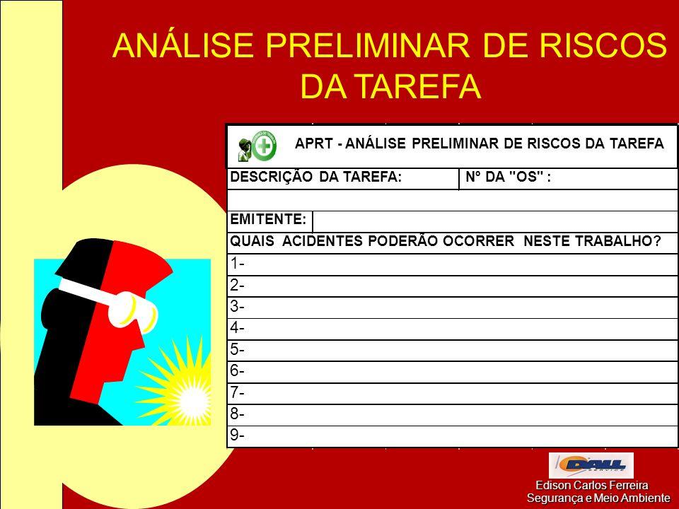 ANÁLISE PRELIMINAR DE RISCOS DA TAREFA Edison Carlos Ferreira Segurança e Meio Ambiente Edison Carlos Ferreira Segurança e Meio Ambiente