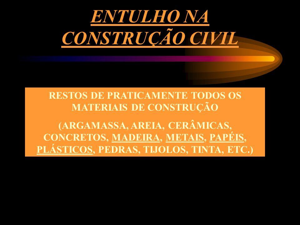 ENTULHO NA CONSTRUÇÃO CIVIL RESTOS DE PRATICAMENTE TODOS OS MATERIAIS DE CONSTRUÇÃO (ARGAMASSA, AREIA, CERÂMICAS, CONCRETOS, MADEIRA, METAIS, PAPÉIS, PLÁSTICOS, PEDRAS, TIJOLOS, TINTA, ETC.)