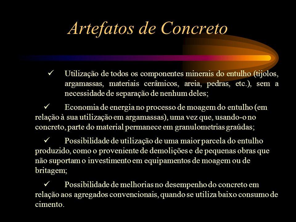 Utilização de concreto e argamassa reciclados Utilização do resíduo no local gerador, o que elimina custos com transporte; Efeito pozolânico apresenta
