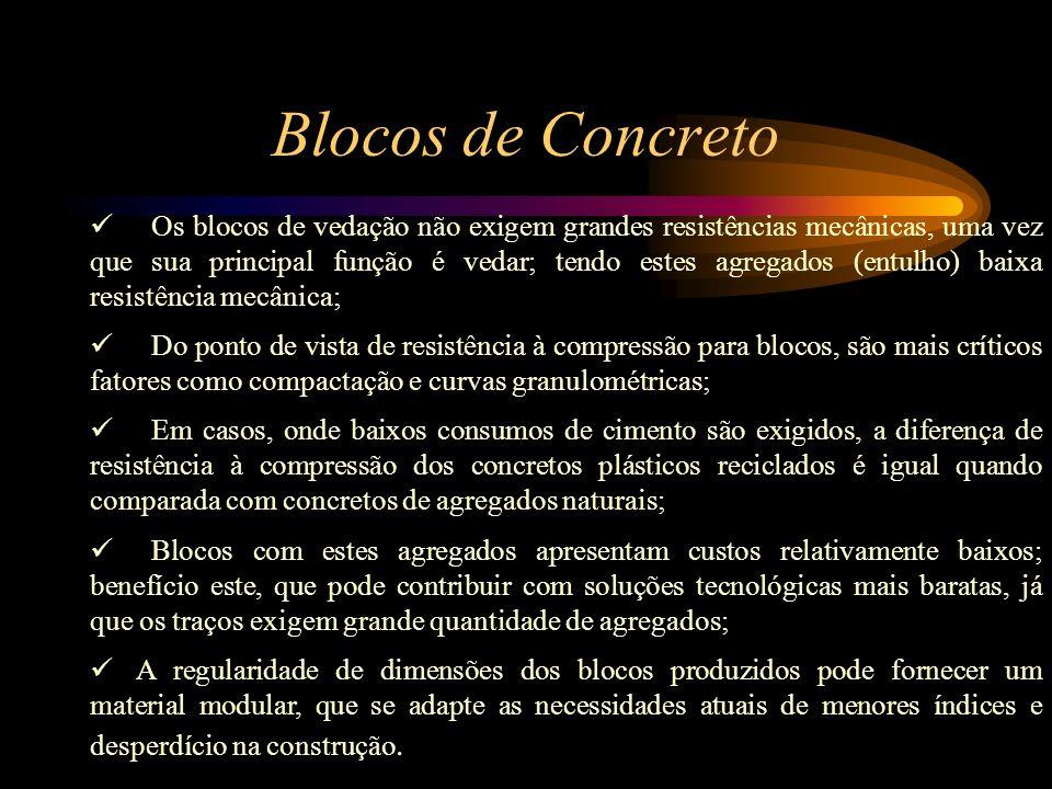 Artefatos de Concreto Utilização de todos os componentes minerais do entulho (tijolos, argamassas, materiais cerâmicos, areia, pedras, etc.), sem a ne