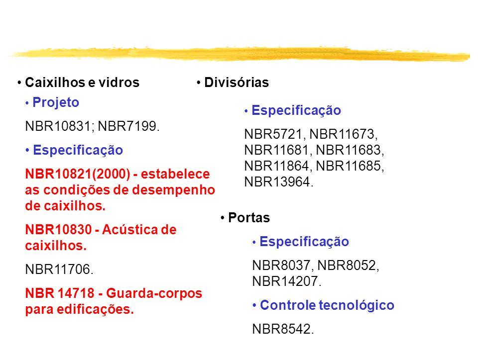 Caixilhos e vidros Projeto NBR10831; NBR7199. Especificação NBR10821(2000) - estabelece as condições de desempenho de caixilhos. NBR10830 - Acústica d