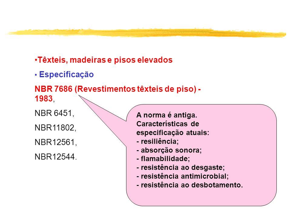 Têxteis, madeiras e pisos elevados Especificação NBR 7686 (Revestimentos têxteis de piso) - 1983, NBR 6451, NBR11802, NBR12561, NBR12544. A norma é an